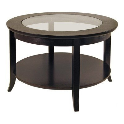 Winsome Genoa Coffee Table, Glass Inset And Shelf By Wood