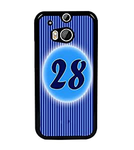 PrintDhaba Numerology Number 28 D-2586 Back Case Cover for HTC ONE M8 EYE (Multi-Coloured)