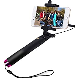 Selfie Stick,SUFUM Wired Extendable Self-portrait Monopod Handheld with Adjustable Phone Holder and Built-in Remote Shutter for iphone Samsung,etc.