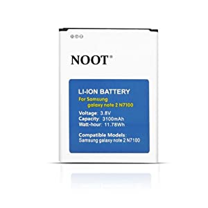 NOOT® 3100mAh Li-ion Replacement Battery For Samsung Galaxy Note 2/II, GT-N7100, SCH-I605(Verizon), SCH-R950(U.S. Cellular), SGH-I317(AT&T), SGH-T889(T-Mobile), SPH-L900(Sprint), fits Samsung EB595675LA [24-Month Warranty No Hassle Money Back Guarantee]