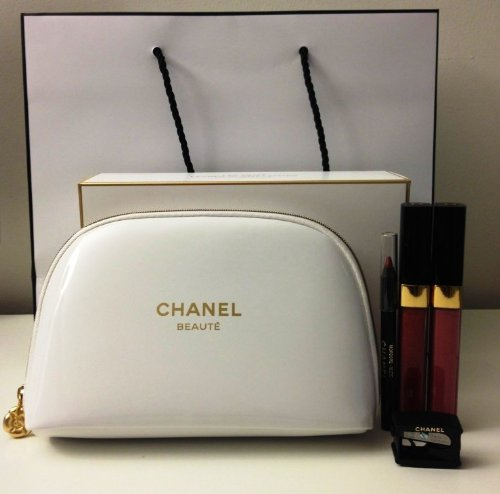 CHANEL Glossimer Duo ~ lipgloss Spark and Wild Rose, lip liner with sharpener & White Cosmetics bag
