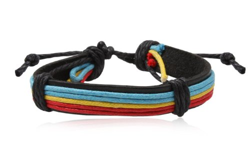 Fashion Multicolour Leather Wrap Cuff Rasta Bracelet Bangle Men's Jewelry