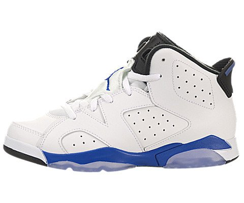 Air Jordan 6 (VI) Retro (Preschool) - White / Sport Blue-Black, 10.5 M US