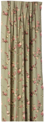 Fireside Floral Pinch Pleated 96-Inch-by-84-Inch Patio Door Thermal Insulated Drapes, Sage