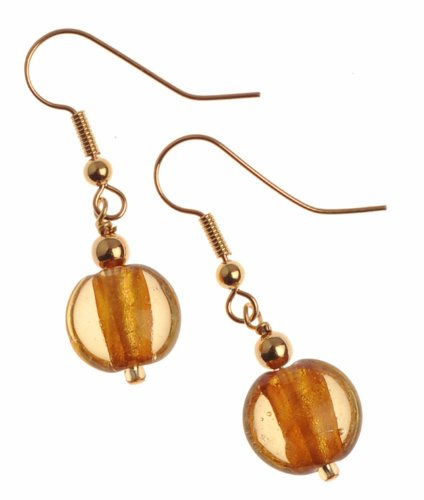 The Jewellery Factory Gold Plated Gold Murano Style Single Drop Bead Earrings