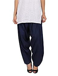 Womens Cottage Navy Blue Pure Cotton Semi Patiala Bottoms