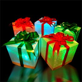 6 Christmas Holiday LED Light Up Gift Box Ornaments