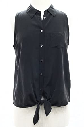 Equipment Mina Tie Front Blouse in Black (L)