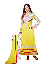 Zerel Bright Yellow Reshem Embroidered Semi Stitched Knee Length Georgette Salwar Suit
