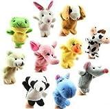 Cheri-Lot de 10 Assortiment marionnette à doigt animales Peluche doudoune Jouets pour enfants Bébé