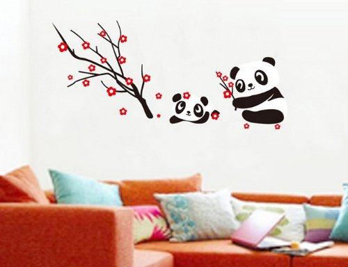 Home Decor Decals Poster House Wall Stickers Quotes Removable Vinyl Large Wall Sticker For Kids Rooms Stickers Panda W-248 front-198959