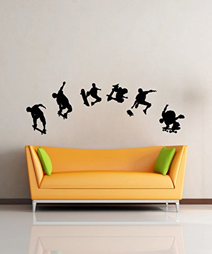 Cool Sport -- 6 Skate Skateboard Players Boys Outdoor Sport -- Vinyl Wall Decals Home Art Stickers Murals For Living Room Bedroom front-926478