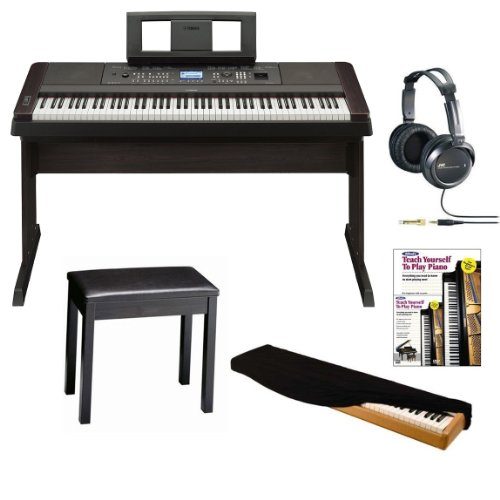 Yamaha DGX-650 88-Key Graded Hammer Action Digital Piano in Black with Padded Bench, JVC Full-Size Stereo Headphones, 88-Key Electronic Keyboard Dust Cover and Alfred's Teach Yourself to Play Piano - Book + DVD