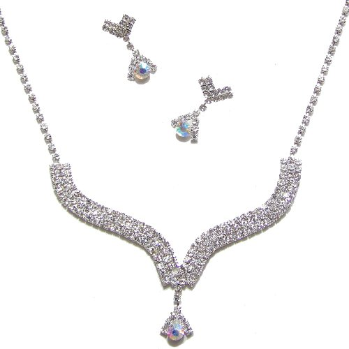 R16 Wedding Bridal Necklace And Earrings Jewellery Set With Sparkly Clear & AB Crystal Diamante