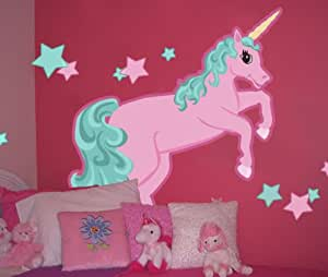 Amazon.com: Large Pastel Unicorn Wall Mural Decal for Girls Rooms