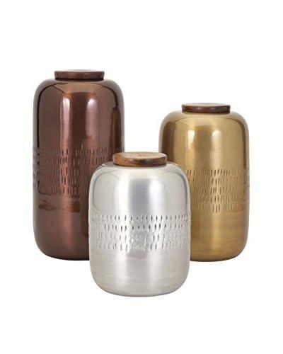Set of 3 Aluminum Lidded Vessels
