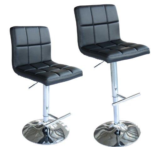 HomCom Swivel Adjustable Hydraulic Bar Stool Set of 2 Pub Barstools with Back, Black