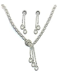 Shingar Jewellery Ksvk Jewels Fine Quality Signity Silver Plated American Diamonds Necklace Set For Women (6544...