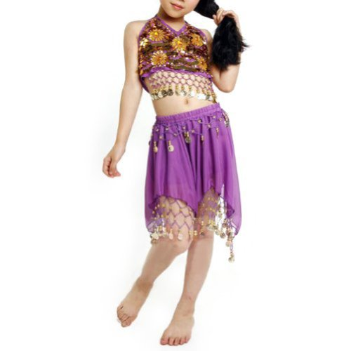 BellyLady Kid Egyptian Belly Dance Costume, Skirt & Halter Top Sets, Purple