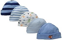 Gerber Baby Boys\' 5 Pack Caps, Transportation, 0-6 Months