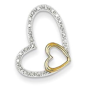 IceCarats Designer Jewelry 14K Two-Tone Diamond Heart Pendant