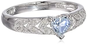 Sterling Silver Aquamarine and Diamond Heart Ring (0.05 Cttw, G-H Color, I2-I3 Clarity), Size 7