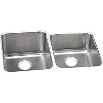 "Elkay ELUHAD312045R 18 Gauge Stainless Steel 31.25"" x 20.5"" x 4.375"" Double Bowl Undermount Kitchen Sink"