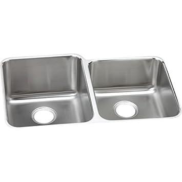 "Elkay ELUHAD312045R 18 Gauge Stainless Steel 31.25"" x 20.5"" x 4.375"" Double Bowl Undermount Kitchen Sink"