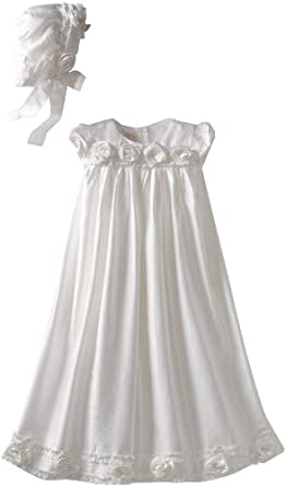 Biscotti Baby-girls Newborn Cherished Heirloom Gown with Bonnet, White, One Size