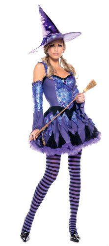 "Be Wicked SB BW993, 3 piece ""Gypsy Witch"" Costume. S/M Black/Purple"