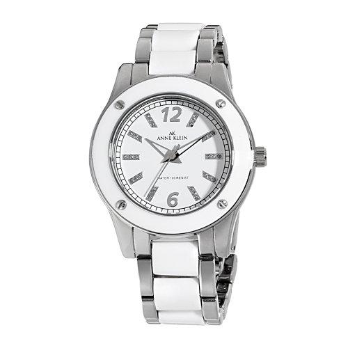 AK Anne Klein Women's 109181WTSV Silver-Tone and White Plastic Dress Watch