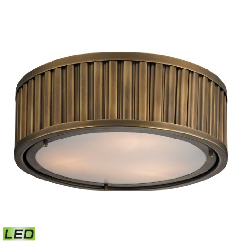 Linden Collection 3 Light Flush Mount In Aged Brass - Led, 800 Lumens (2400 Lumens Total) With Full Scale Dimming Range, 60 Watt (180 Watt Total)Equivalent , 120V Replaceable Led Bulb Included.