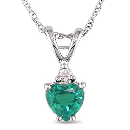 1/3 ctw Heart Shape Created Emerald & Diamond Accent Pendant in 10k White Gold