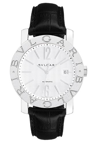 Bvlgari Bvlgari Automatic White Dial Stainless Steel Leather Mens Watch 101379
