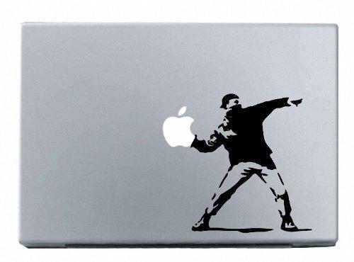 Yadda Yadda Design Co. Molotov Guy Throwing Apple Vinyl Laptop or Macbook Decal