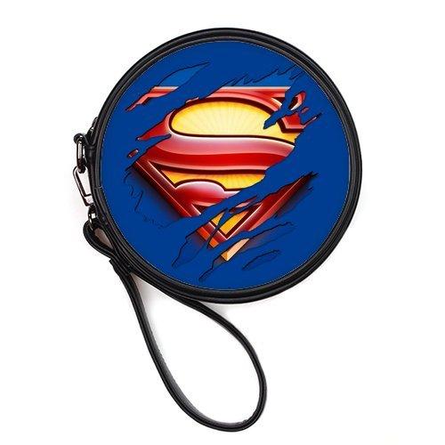 LaHuo Super-Man Logo Custom Design Women Makeup Bag Personality Round Makeup Bag Coin Purse