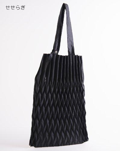 日本製プリーツサブバッグ 40サイズ A4も余裕で入る大きめ エコバッグ 冠婚葬祭 結婚式 葬祭 学校関係 お受験 (せせらぎ, ブラック)