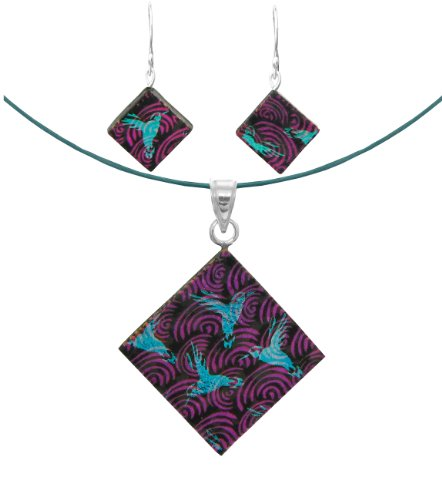 Sterling Silver Dichroic Glass Humming bird on Pink Swirls Pattern Rectangular Pendant Necklace and Earrings Set, 18