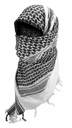Shemagh Keffieh Cheche US Army - Foulard Palestinien - Coloris Noir & Blanc - Airsoft - Paintball - Outdoor