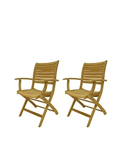 Amazonia Set of 2 Dublin Teak Folding Armchairs, Brown