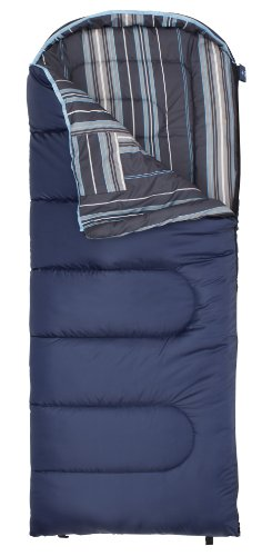 TETON Sports Celsius Junior for Boys -7 Degree C / +20 Degree F Flannel Lined Sleeping Bag (66″x 26″, Blue with Stripe Liner, Left Zip)