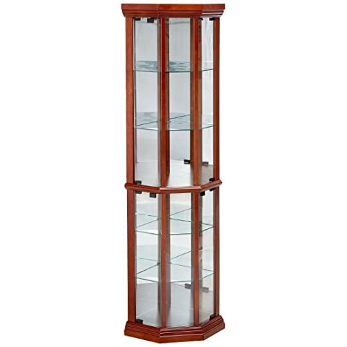 Glass Corner Curio Cabinet with 6-Shelf Medium Brown