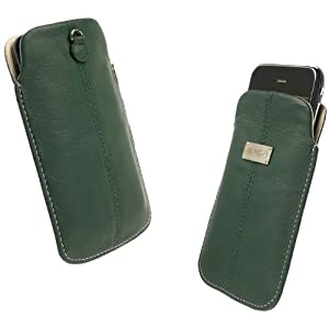 Krusell Large Luna Slim Leather Pocket Pouch for iPhone 4, Blackberry Curve 3G, HTC Desire, Sony Ericsson Xperia X10 and others (Green/Sand)