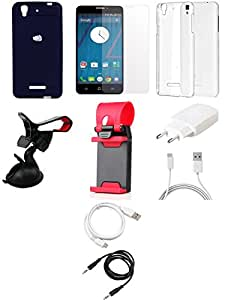 NIROSHA Tempered Glass Screen Guard Cover Case Charger USB Cable Mobile Holder Combo for YU Yureka Combo