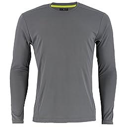 adidas Men\'s Baselayer Climalite UPF Long-Sleeve Crew Top, Grey, Medium
