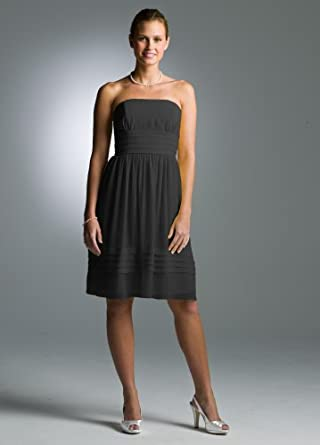 Short Strapless Pleated Dress in Crinkle Chiffon Black, 2