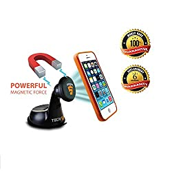 Tech Sense Lab® MagBack Car Mobile Holder ✔ Universal Magnetic Mobile Mount for Mobiles, Smartphones and Mini Tablets, - 100% Satisfaction Guaranteed ✔