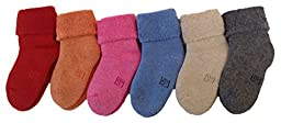 Lian LifeStyle 6 Pairs Pack Children Cashmere Wool Socks Plain 6M-12M (Blue,Gray,Beige,Rose,Orange,Red)