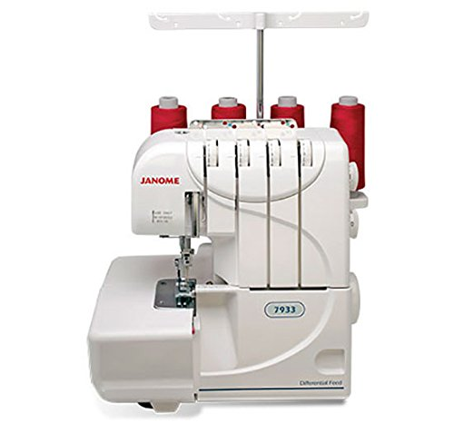 Janome 7933 Serger with Lay-In Threading, 3 and 4 Thread Convertible with Differential Feed (Color: White)