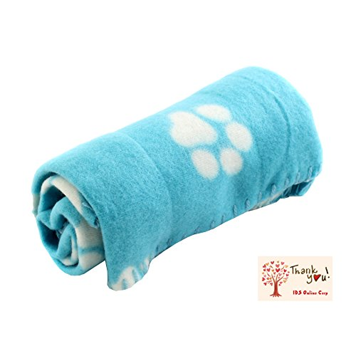 Blue Soft Fleece Pet Dog Cat Puppy Kitten Warm Blanket Sleep Bed Mat with Paw Print